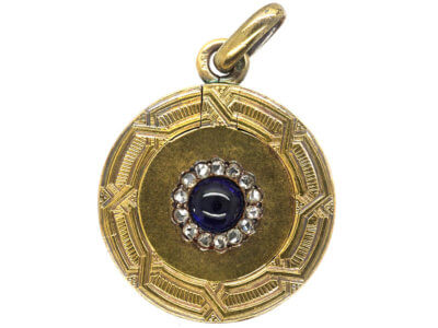 Art Deco 14ct Gold, Cabochon Sapphire & Rose Diamonds Round Locket
