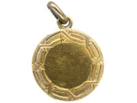 Art Deco 14ct Gold, Cabochon Sapphire & Rose Diamonds Round Locket