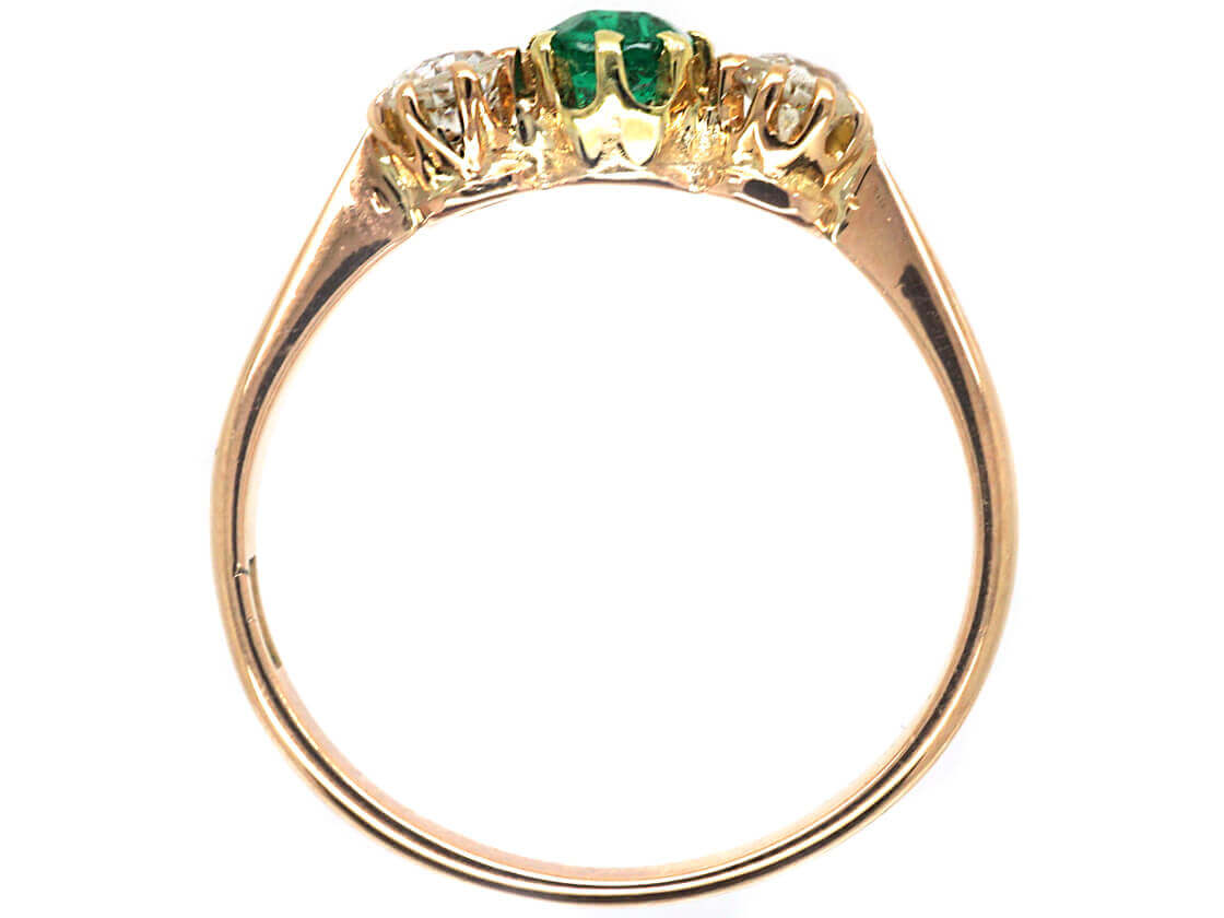 Edwardian 14ct Gold, Three Stone Diamond & Emerald Ring