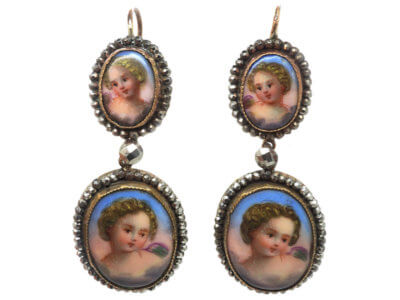Victorian Cut Steel & Porcelain Cherub Drop Earrings