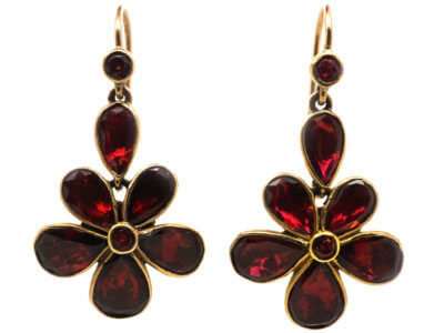 Edwardian Gold & Flat Cut Garnet Pansy Earrings