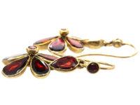 Edwardian Gold & Flat Cut Garnet Pansy Earrings