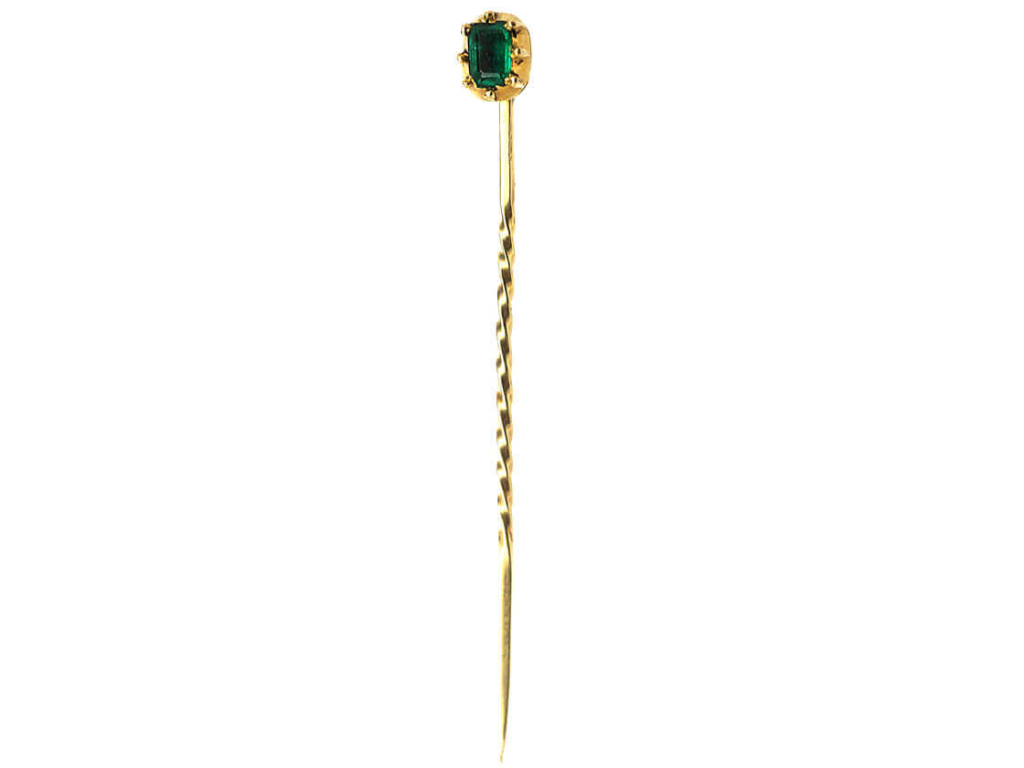 Georgian Gold Tie Pin set with an Emerald