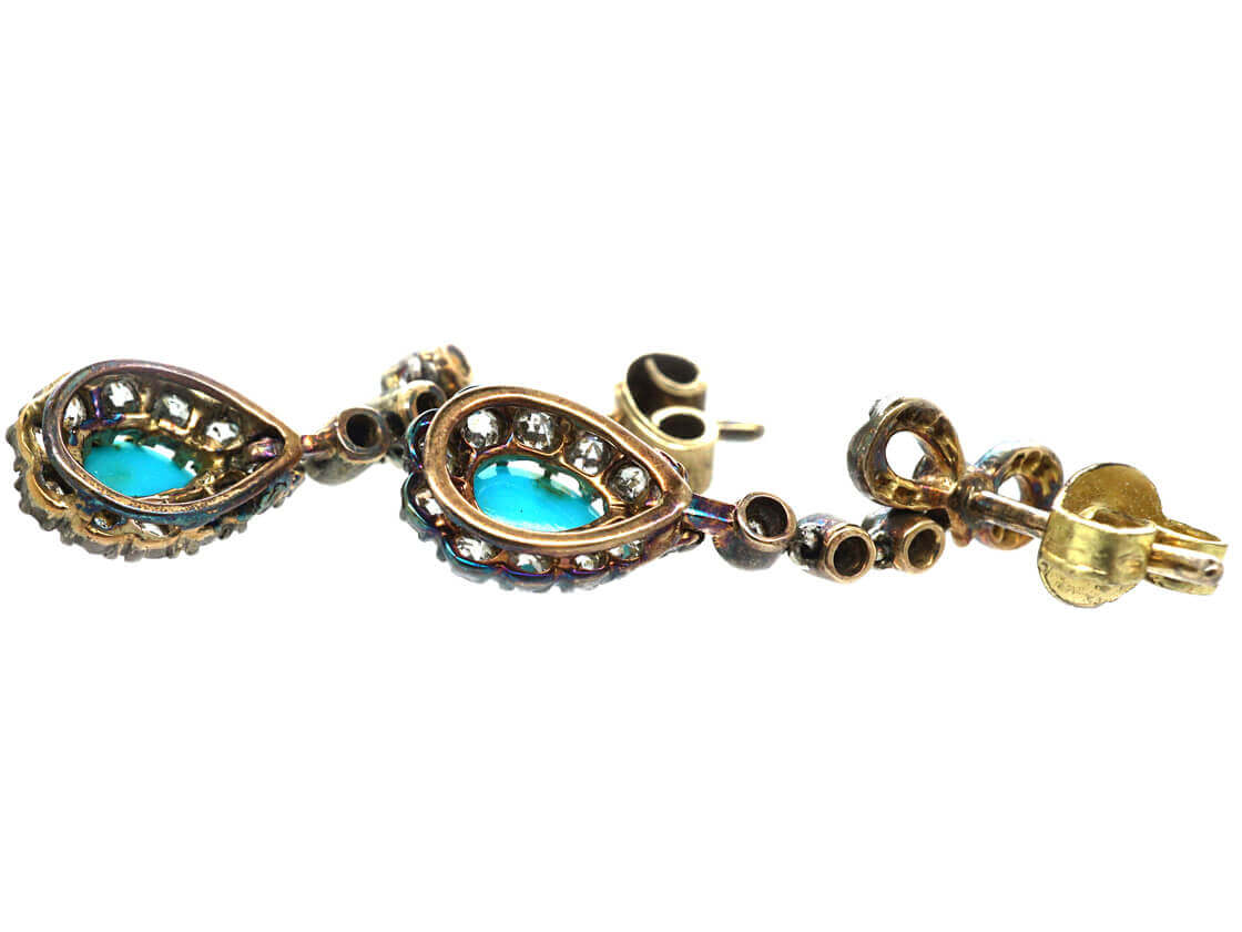 Edwardian 15ct Gold, Turquoise & Diamond Drop Earrings with Bow Tops