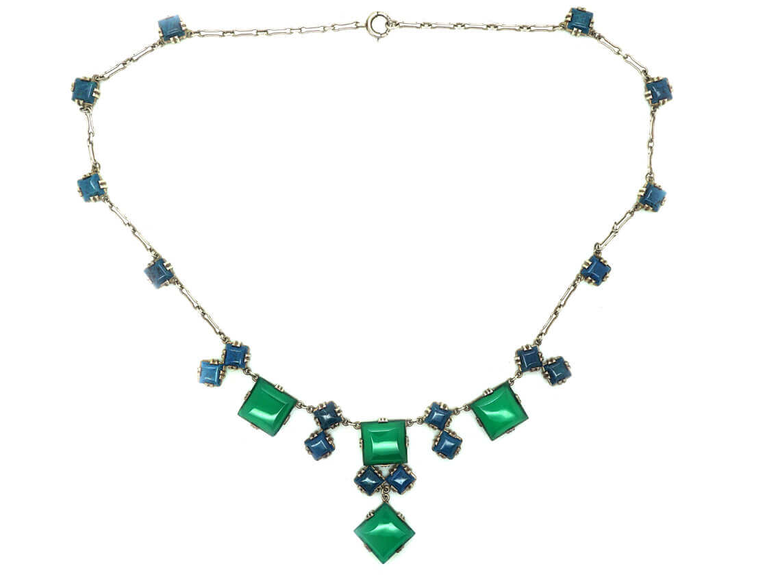 Art Deco Silver & Blue & Green Chalcedony Necklace