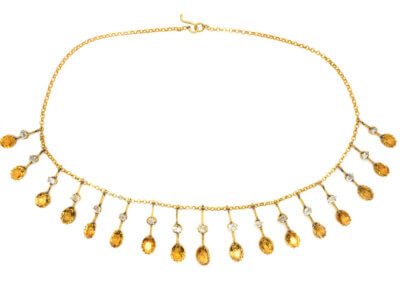 Edwardian 15ct Gold Fringe Necklace set with Citrines & Rock Crystal