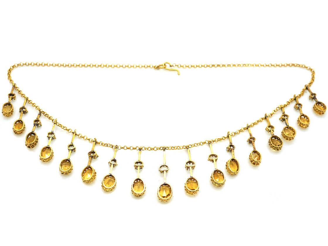 Edwardian 15ct Gold Fringe Necklace set with Citrines & Rock Crystal
