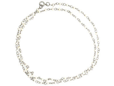 Edwardian Platinum & Natural Pearl Chain