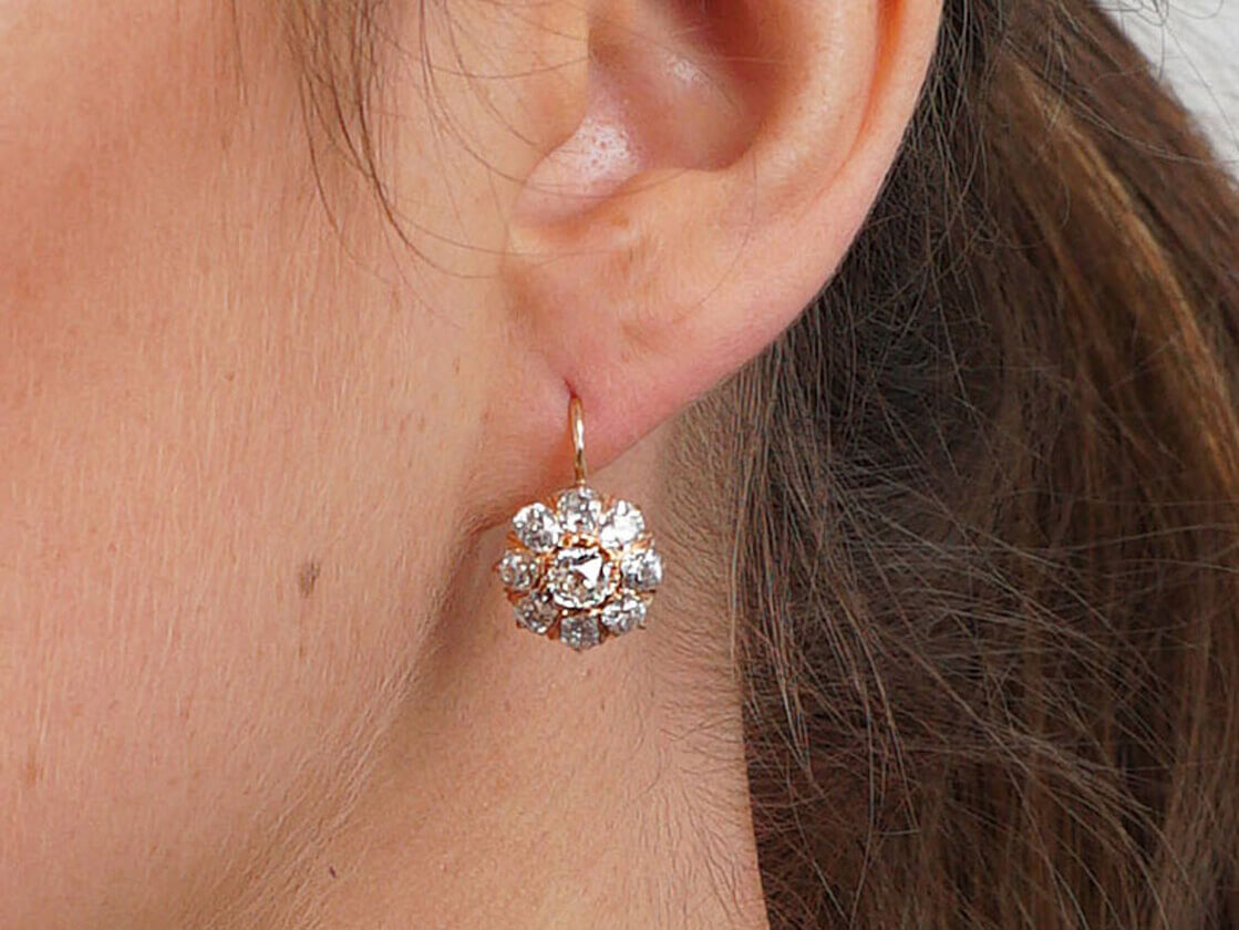 Victorian 18ct Gold Old Mine Cut Diamond Cluster Earrings