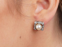 Art Deco 18ct White Gold, Diamond & Pearl Earrings