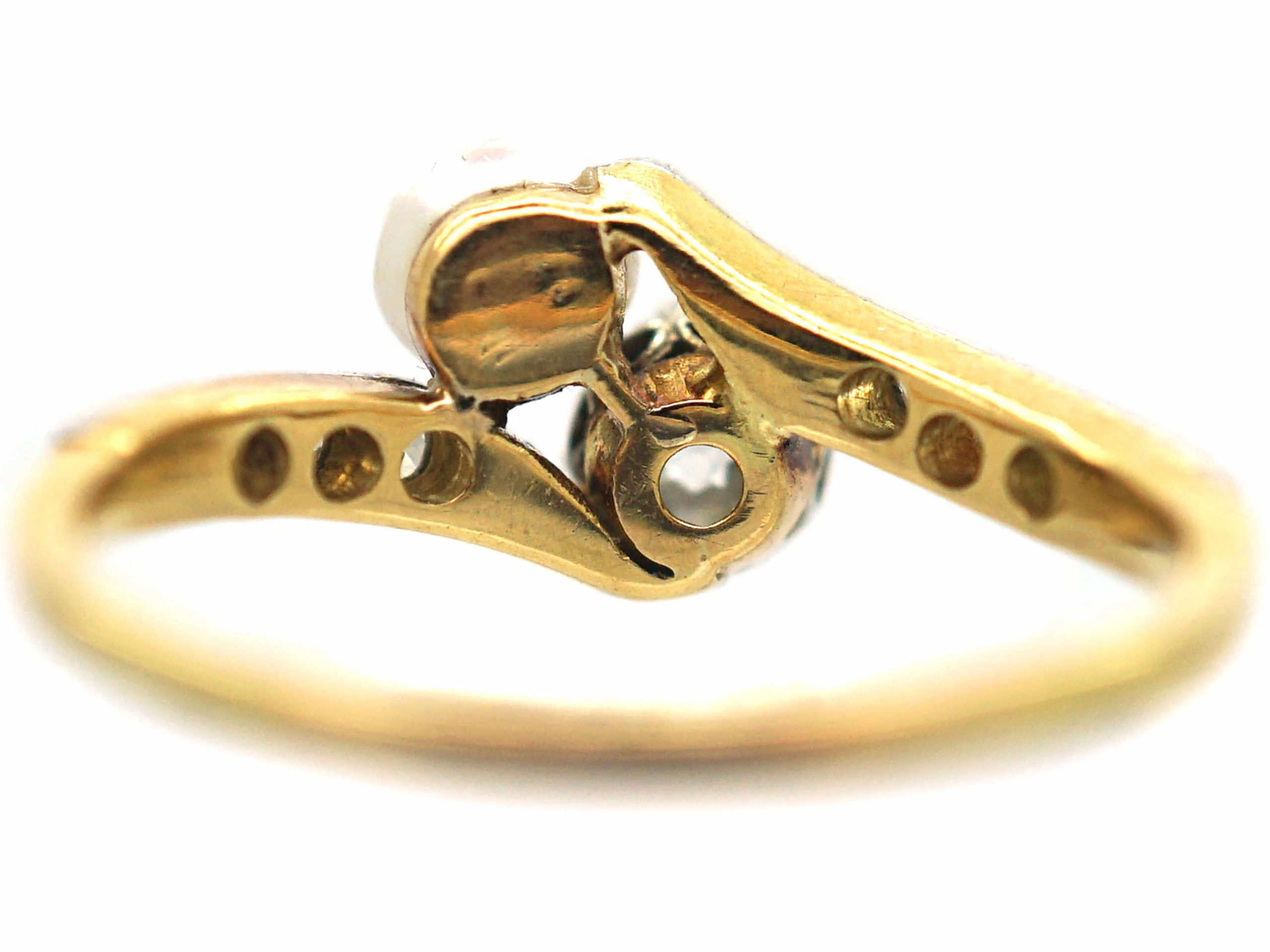 Edwardian 18ct Gold & Platinum Crossover Ring set with a Natural Pearl & a Diamond