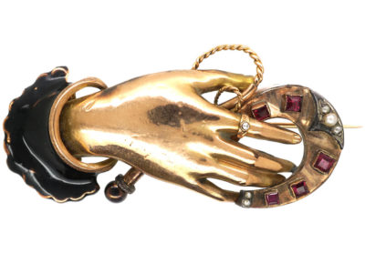 Victorian 14ct Gold & Enamel Hand Brooch Holding Horseshoe