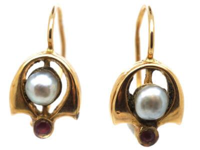 Austrian 14ct Gold Art Nouveau Pearl & Ruby Earrings