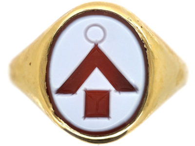 14ct Gold Signet Ring with Carnelian Masonic Intaglio