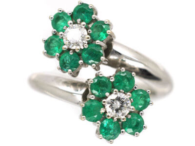 18ct White Gold, Emerald & Diamond Double Cluster Ring