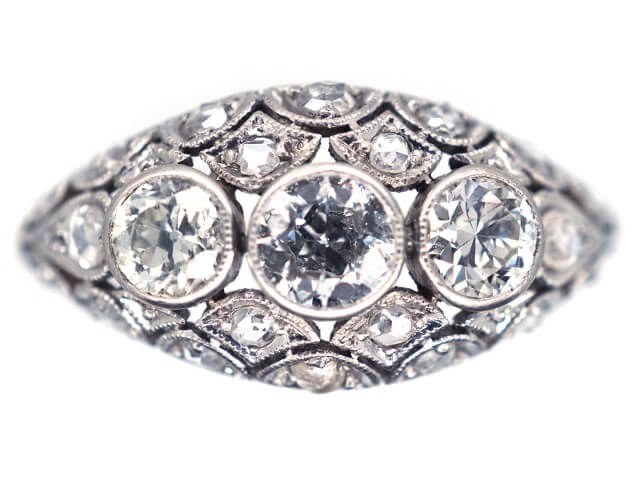 Boat shaped engagement rings