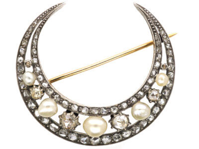 Victorian 15ct Gold Natural Pearl & Rose Diamond Crescent Brooch