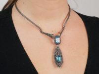 Silver, Marcasite & Blue Paste Clip Pendant on Necklace