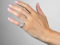 Late Edwardian 18ct Gold & Platinum, Diamond Triple Row Pave Set Cluster Ring