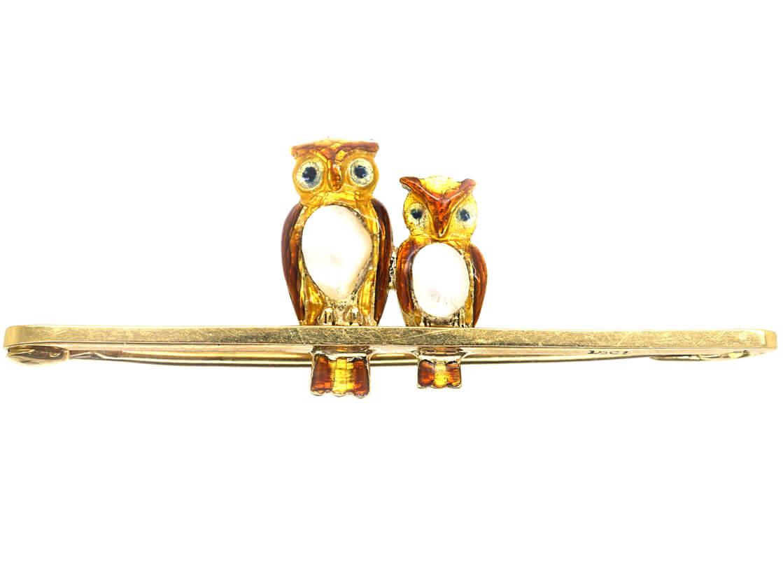 Edwardian 15ct Gold, Enamel & Pearl Mother & Baby Owl Brooch