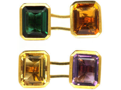 Retro 18ct Gold Multi Stone Cufflinks