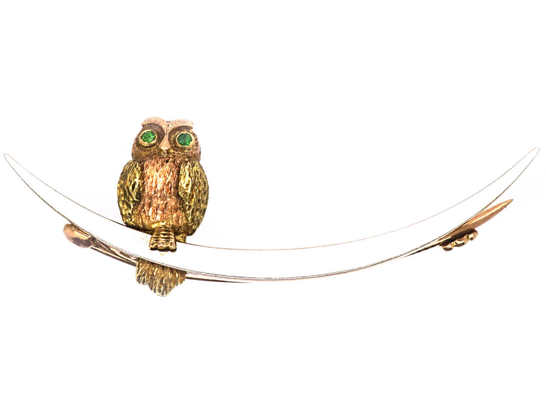 Edwardian 15ct Gold & Platinum Owl in The Moon Brooch