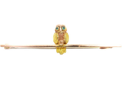 Edwardian 9ct Gold Wise Owl Brooch