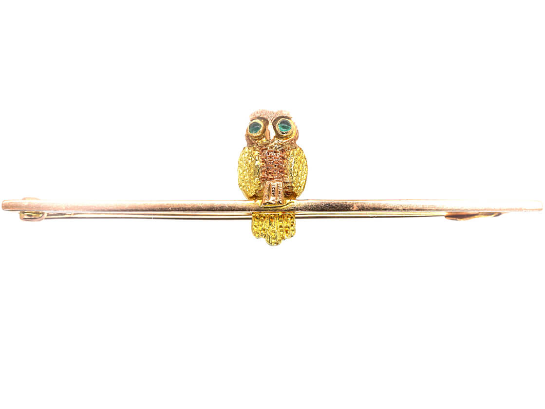 Edwardian 9ct Gold Wise Owl Brooch