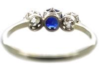 Art Deco 18ct White Gold and Platinum, Sapphire & Diamond Three Stone Ring