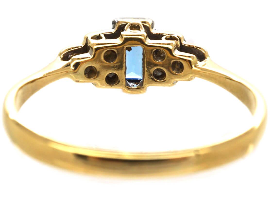 Art Deco 18ct Gold & Platinum, Sapphire & Diamond Step Cut Ring