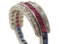 Art Deco Platinum, Ruby, Sapphire & Diamond Flipover Night and Day Ring