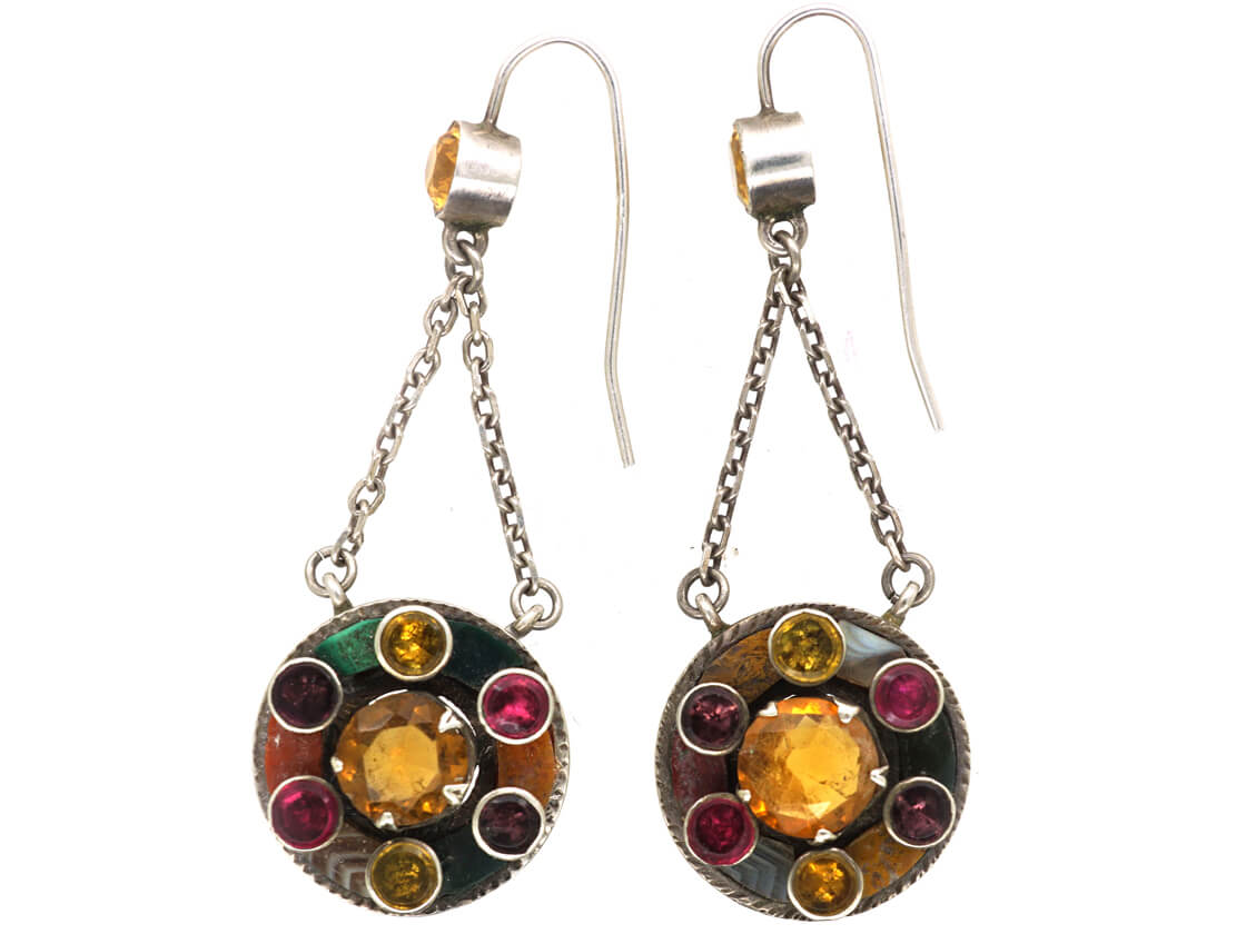 Victorian Scottish Silver, Citrine, Garnet & Agate Drop Earrings