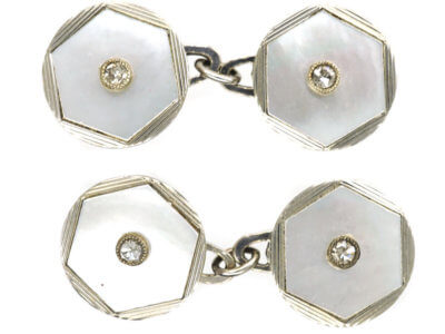 Art Deco 18ct White Gold Mother of Pearl & Diamond Cufflinks