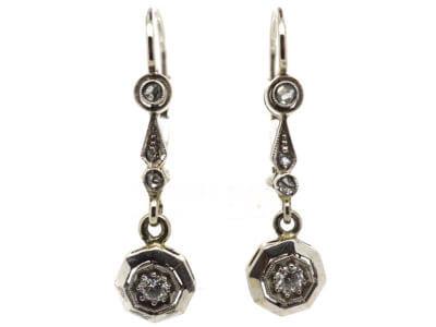Art Deco 14ct White Gold & Diamond Drop Earrings