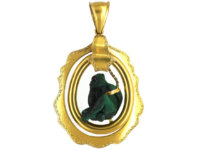 Victorian 18ct Gold & Malachite Carved Monkey Pendant