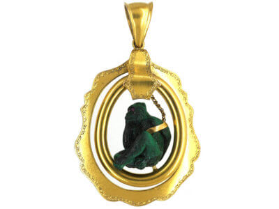 Victorian 18ct Gold & Malachite Carved Monkey Pendant