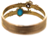 Edwardian 14ct Gold Turquoise & Diamond Ring