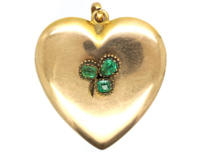 Large Edwardian 10ct Gold Heart Shaped Locket set with Three Emeralds