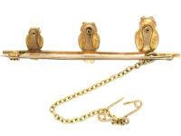 Edwardian 9ct & 15ct Gold Three Little Owls Brooch