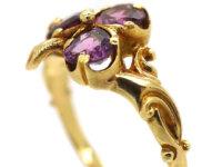 Edwardian 18ct Gold & Almandine Garnet Irish Clover Ring