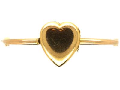 Edwardian 15ct Gold Heart Shape Locket on Bangle