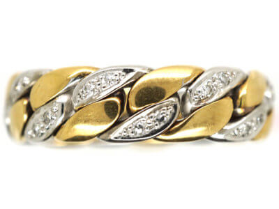 18ct White & Yellow Gold Ring set with Diamonds