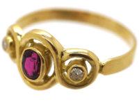 18ct Gold Ruby & Diamond Triple Twist Ring
