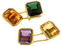 Retro 18ct Gold Multi Stone Cufflinks