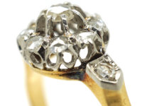 Victorian 18ct Gold Rose Diamond Cluster Ring with Diamond Set Shoulders