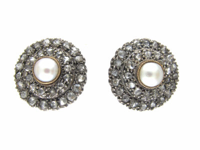 Victorian Rose Diamond & Natural Split Pearl Round Earrings