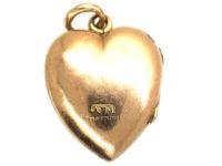Edwardian 9ct Gold Heart Shaped Locket set with Three Garnets