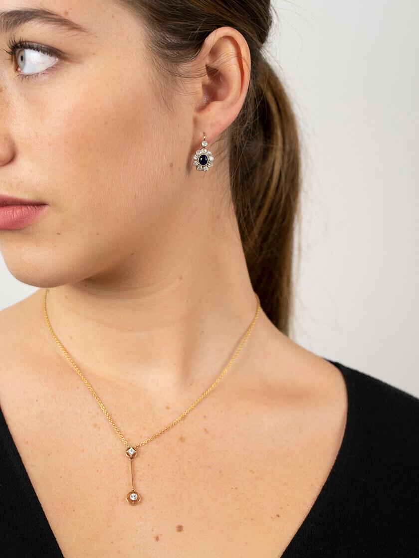 Austrian Art Deco 14ct White Gold Sapphire & Diamond Earrings