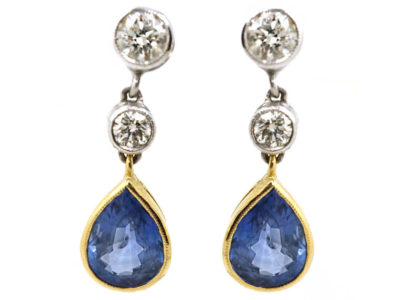 18ct White & Yellow Gold, Sapphire & Diamond Drop Earrings