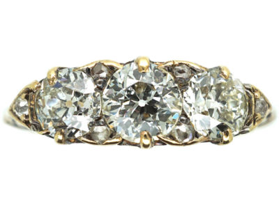 Victorian 18ct Gold Three Stone Diamond Carved Half Hoop Ring